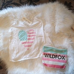 Wildfox american flag tank with bag